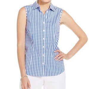 Ralph Lauren blue gingham sleeveless button up top